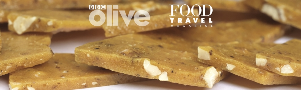"""Food and Travel Magazine - """"Try Potash Farm's new Toasted Kentish Cobnut Brittle. As with any great Brittle, it's tooth-stickingly sweet and buttery, with the strong comforting flavour of Cobnuts."""""""