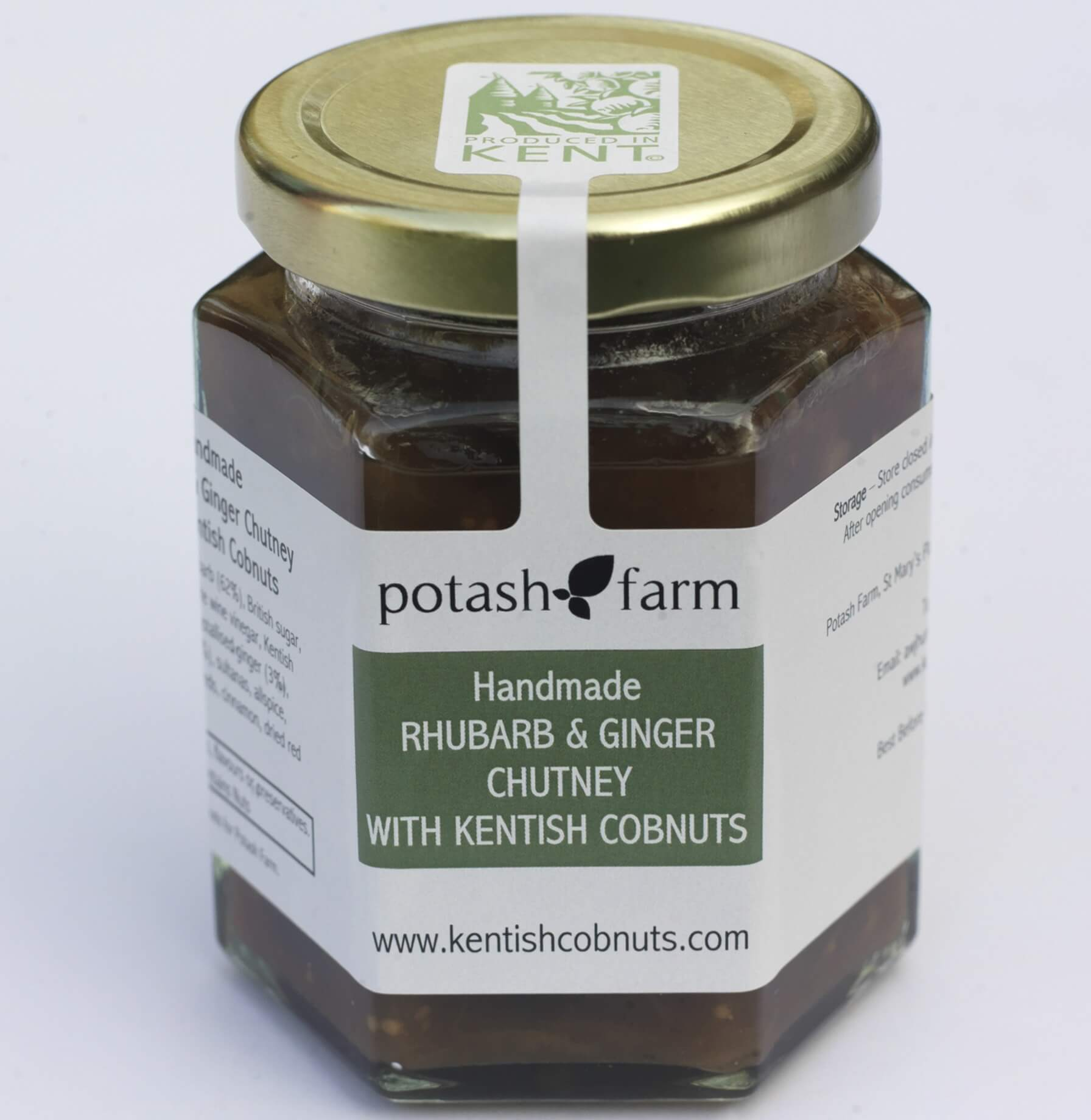 "Featured in the Telegraph Magazine - ""The Potash Farm Rhubarb and Ginger Chutney with Kentish Cobnuts. Rich with fruit and slightly crunchy from the Cobnuts. Unlike any chutney I've had."""