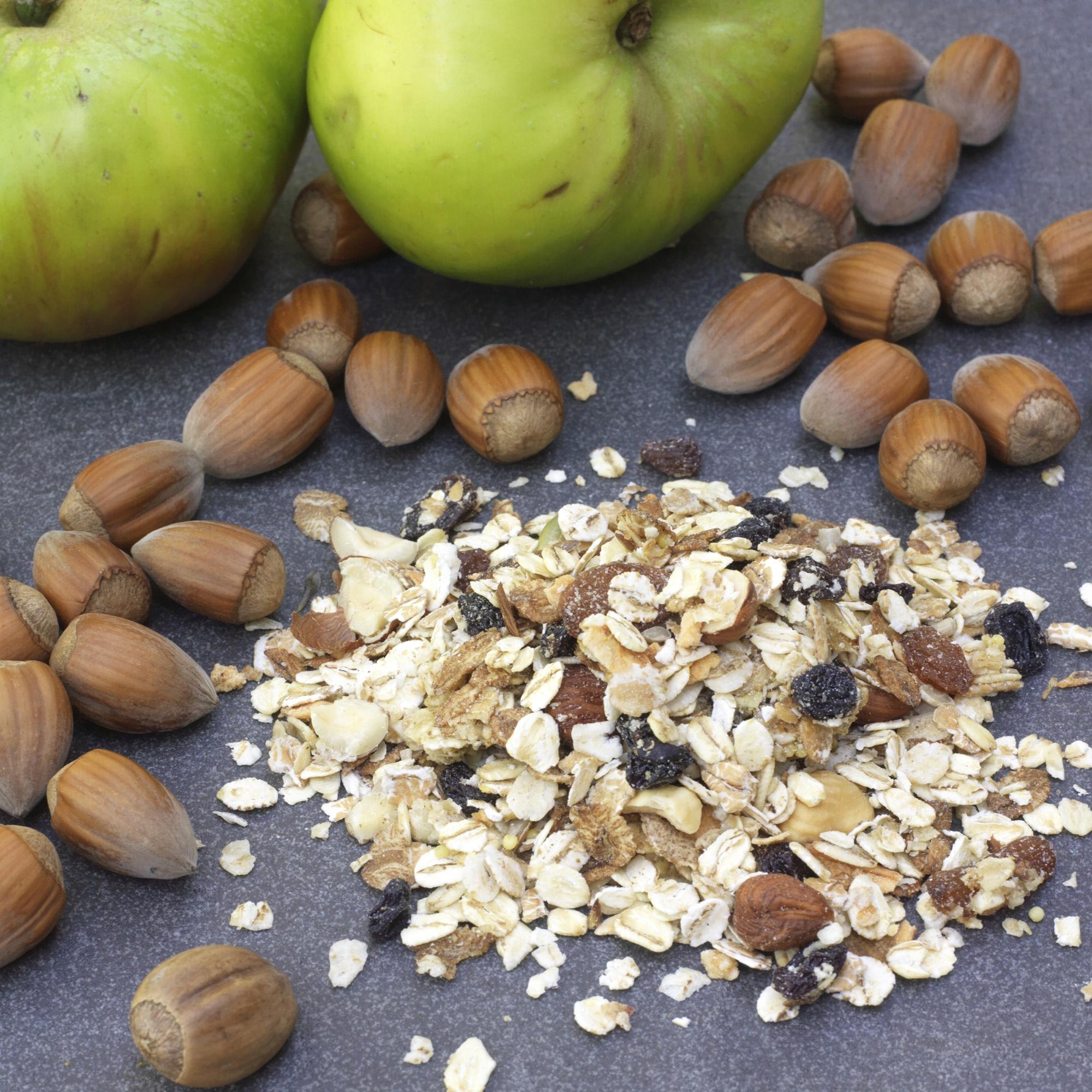 Kentish Cobnut And Bramley Apple Granola Muesli - A very healthy granola muesli made with oats, Kentish Cobnuts, mixed seeds, and Kentish Bramley apple.