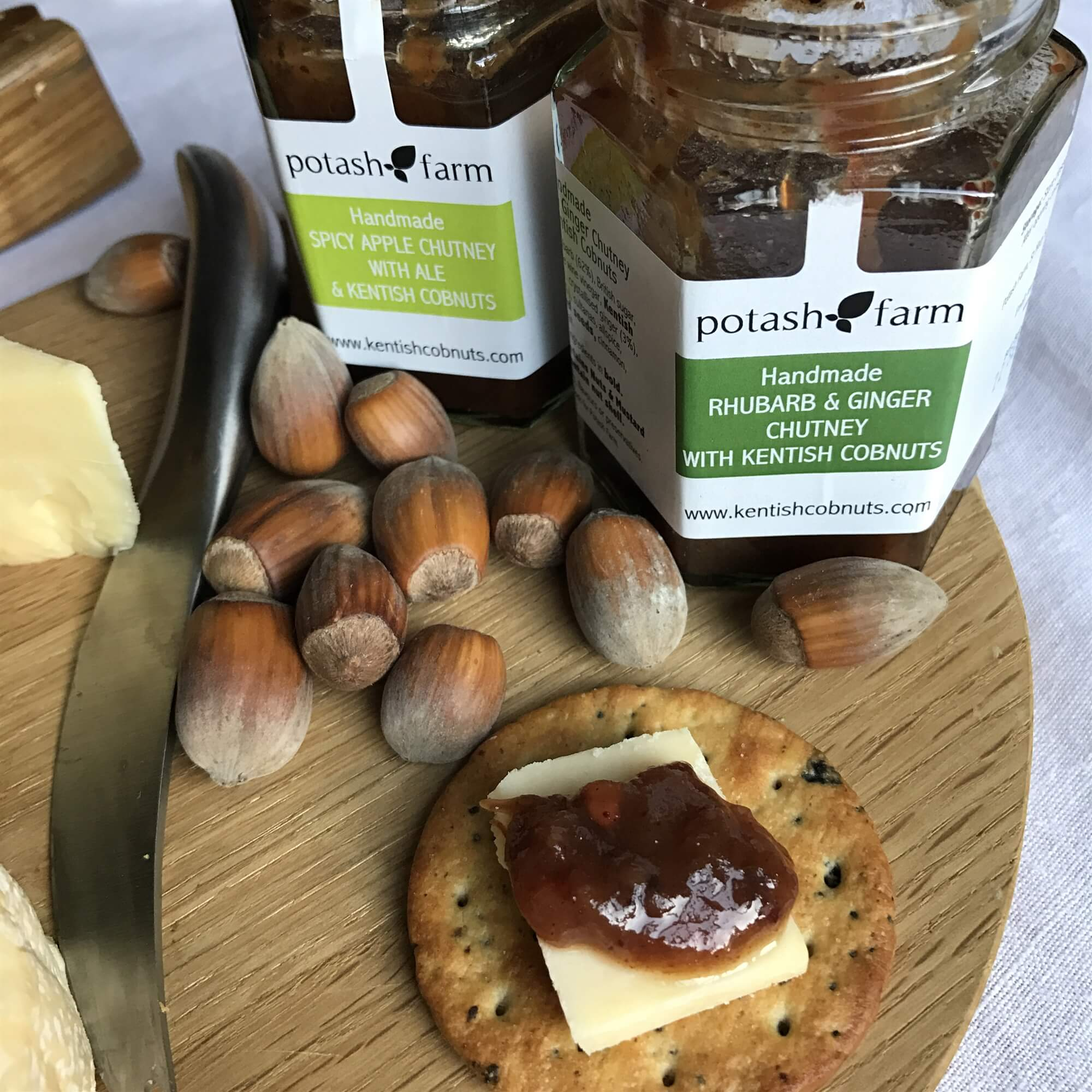 """Featured in the Telegraph Magazine. - """"The Potash Farm Rhubarb and Ginger Chutney with Kentish Cobnuts. Rich with fruit and slightly crunchy from the Cobnuts. Unlike any chutney I've had."""""""