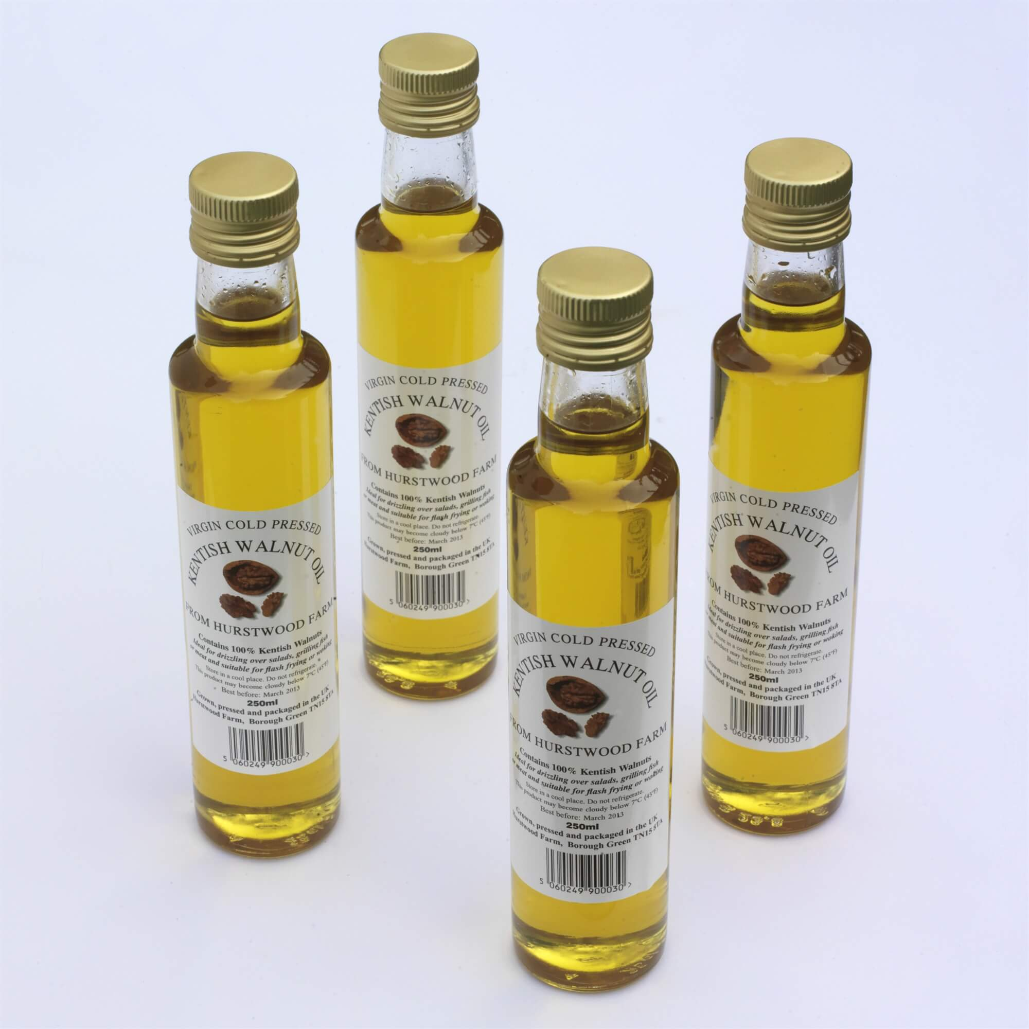 Virgin Cold Pressed Kentish Walnut Oil - It is an ideal alternative to the Kentish Cobnut oil and is good for drizzling over salads, grilling fish or meat and suitable for flash frying or woking.