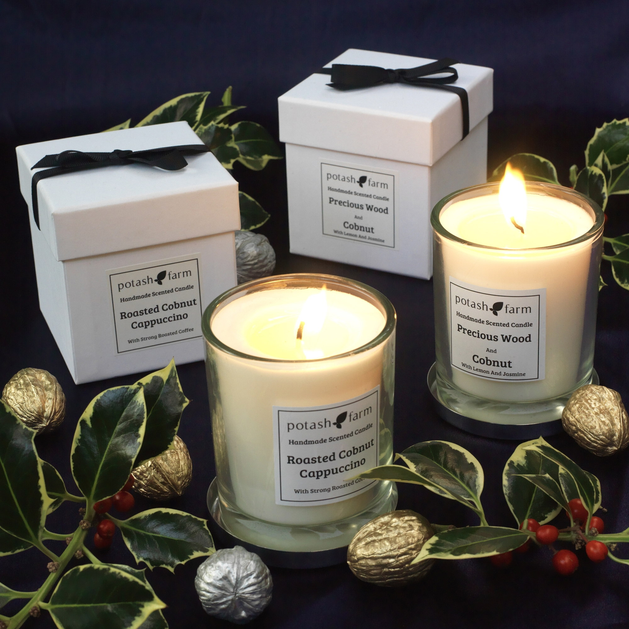 New Luxury Candles - Roasted Cobnut Cappuccino and Precious Wood And Cobnut Luxury Candle