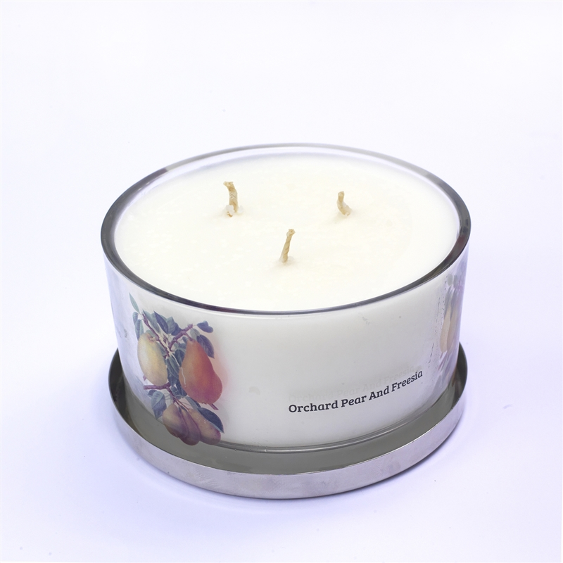 Three Wick Orchard Pear And Fresia Luxury Candle