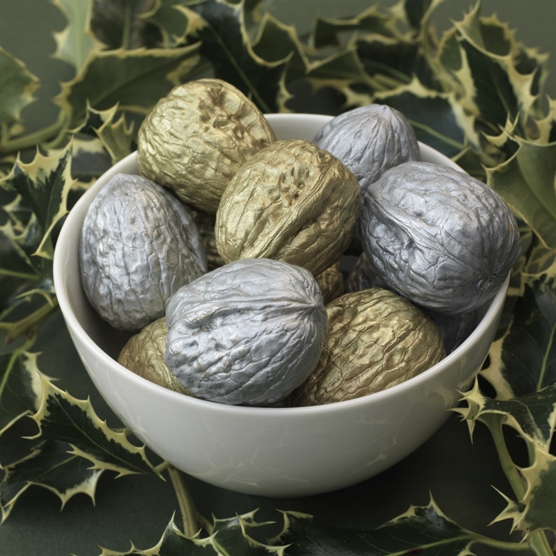 Decorative Gold and Silver Walnuts